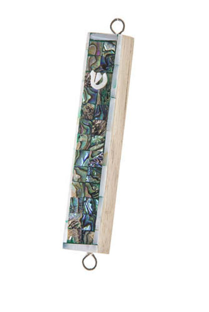 Picture of #090S Inlaid Shell and Teak Mezuzah Case