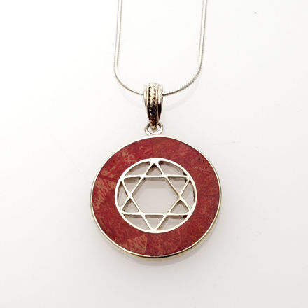Picture of #B529-C Red Coral Round Sterling Sliver Star