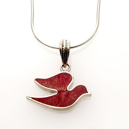 Picture of #B537-C Red Coral and Sterling Silver dove of Peace