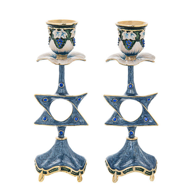 Picture of Star of David Jeweled Blue Candlestick