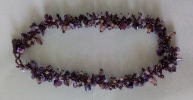 Picture of #B603-02 Gemstone Glass Bead Necklace
