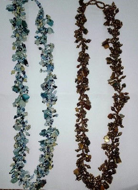 Picture of #B603-07 Gemstone Glass Bead Necklace