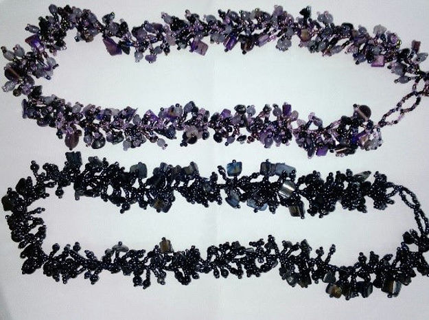 Picture of #B603-09 Gemstone Glass Bead Necklace
