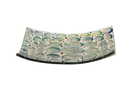 Picture of C830-M Blue/Green Matzah Plate Glass