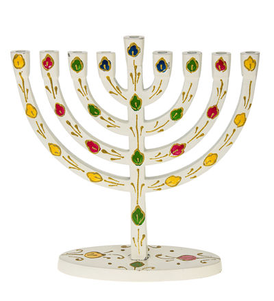 Picture of #253 White menorah with colorful leaves
