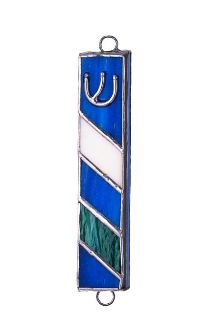 Picture of #C137 Stained Glass Blue Mezuzah