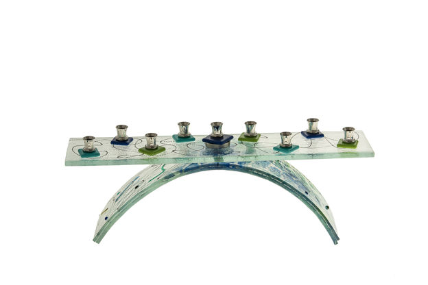 Picture of C826 Glass Blue/Green Menorah