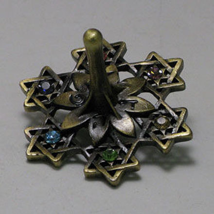 Picture of #7022 Jeweled Dreidel  with Antigue Finish and stones