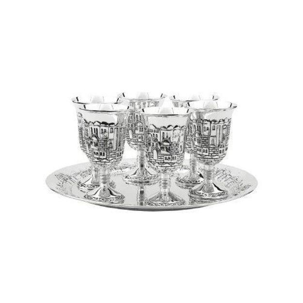Picture of #935 Liquor Cups Set of 6 With Tray Silver Plated