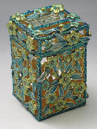 Picture of #6252 Tzedakah Box Jeweled Green Flowers