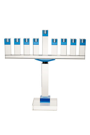 Picture of #16378-B Menorah Crystal Blue