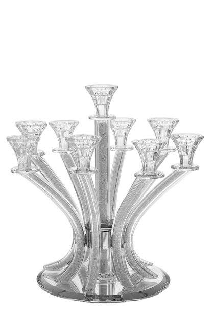 Picture of #1632-9 Crystal Candelabra with crushed stones 9 branches