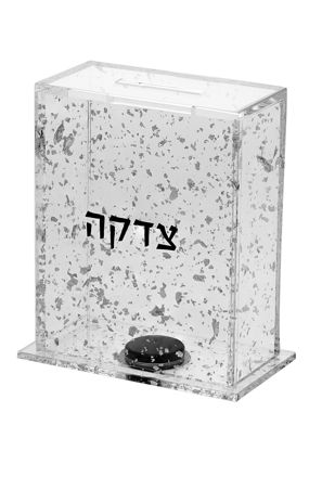 Picture of #269-FS Tzedakah box Silver Flakes Lucite
